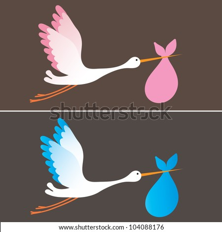 A cartoon illustration of a stork delivering a newborn baby girl and boy - stock vector