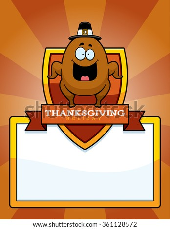 A cartoon illustration of a Thanksgiving graphic with a turkey.