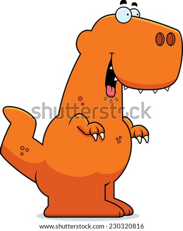 A cartoon illustration of a Tyrannosaurus Rex dinosaur looking hungry. - stock vector