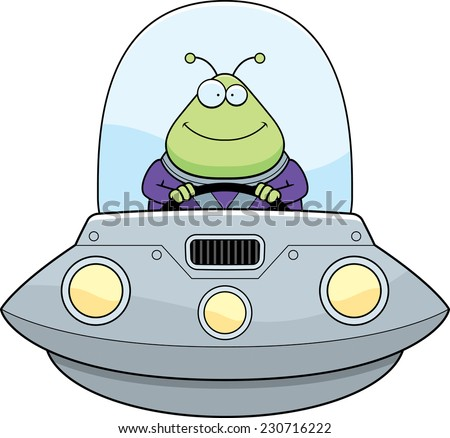A cartoon illustration of an alien in a UFO smiling. - stock vector