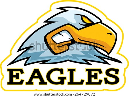 A cartoon illustration of an eagle mascot head. - stock vector