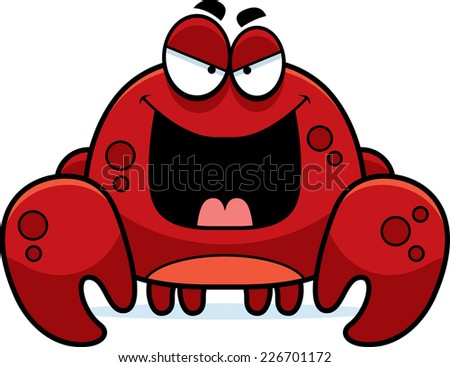 A cartoon illustration of an evil looking crab.