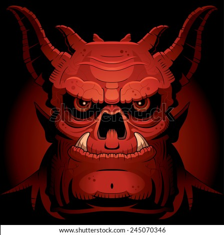 A cartoon illustration of an evil looking demon. - stock vector