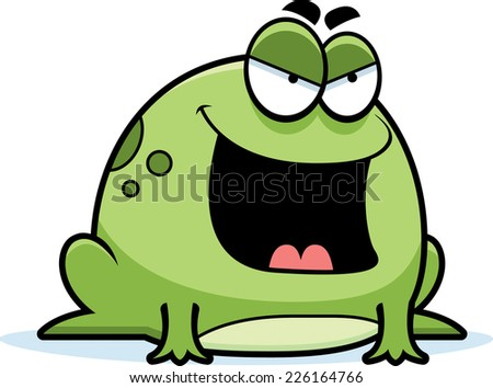 A cartoon illustration of an evil looking frog. - stock vector