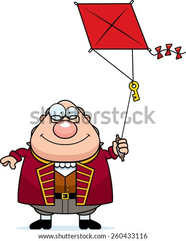 A cartoon illustration of Ben Franklin flying a kite. - stock vector