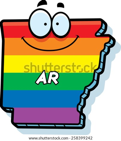 A cartoon illustration of the state of Arkansas smiling with rainbow flag colors. - stock vector