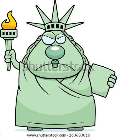 A cartoon illustration of the Statue of Liberty looking angry. - stock vector