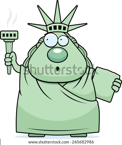 A cartoon illustration of the Statue of Liberty looking surprised at her torch. - stock vector