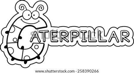 A cartoon illustration of the text Caterpillar with a caterpillar theme. - stock vector