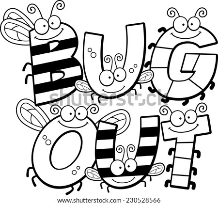 A cartoon illustration of the words bug out with an insect theme. - stock vector