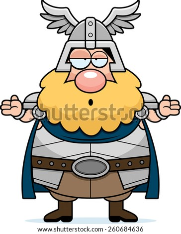 A cartoon illustration of Thor looking confused. - stock vector