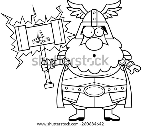 A cartoon illustration of Thor looking surprised. - stock vector