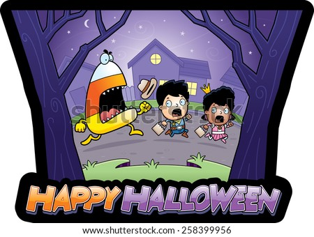 A cartoon illustration of trick-or-treaters running away from a candy corn monster. - stock vector