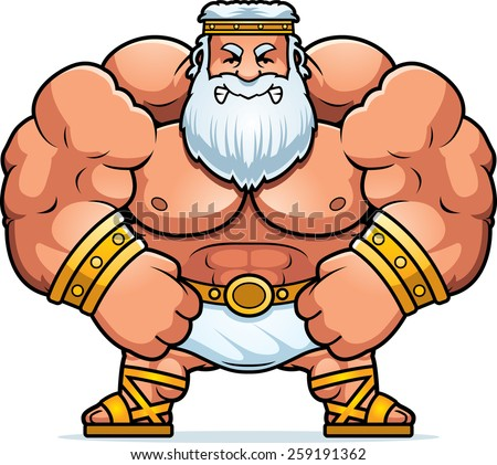 A cartoon illustration of Zeus looking angry. - stock vector
