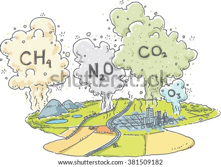 A cartoon landscape with clouds of greenhouse gases such as methane, nitrous oxide, carbon dioxide and ozone, rising into the atmosphere. - stock vector