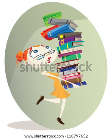 A cartoon librarian carries a huge pile of books. Illustrator .eps v10. Contains some transparency effects. - stock vector