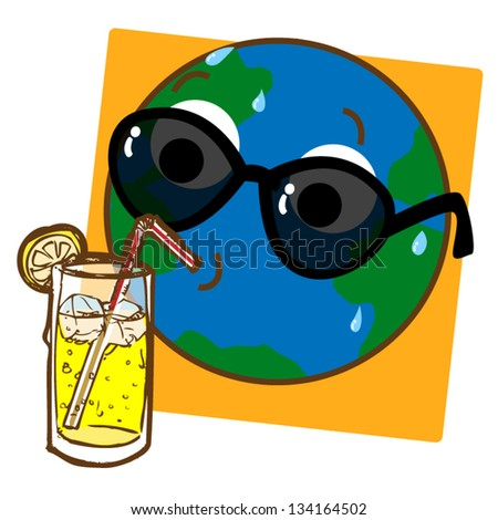 A cartoon like stylized illustration of the planet Earth drinking ice cold lemonade! - stock vector