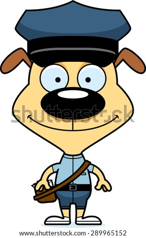 A cartoon mail carrier puppy smiling. - stock vector