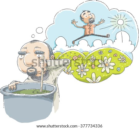 A cartoon man daydreams about green hills and a sunny day while he works at a dismal, hard job.