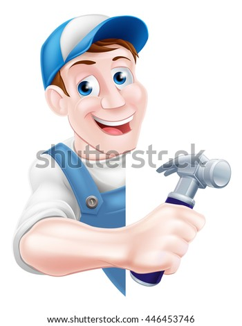 A cartoon man in a cap hat and blue dungarees holding a claw hammer tool peeking around a sign - stock vector