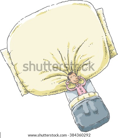 A cartoon man in his pajamas lying in a bed and sleeping with his head resting on a giant, oversize soft pillow. - stock vector
