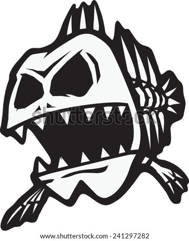A cartoon of a skeletal fish. Vector file available. Bad Bones Fish - stock vector