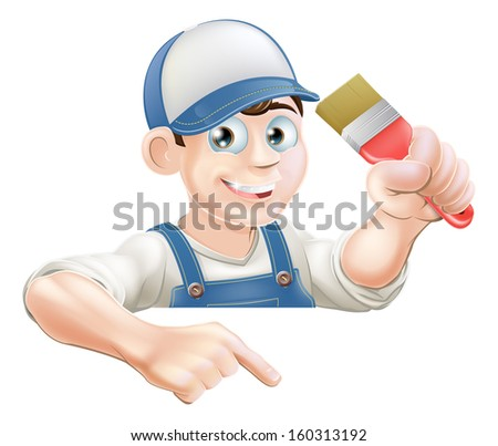 A cartoon painter or decorator with a paintbrush peeking over a sign or banner and pointing at it - stock vector