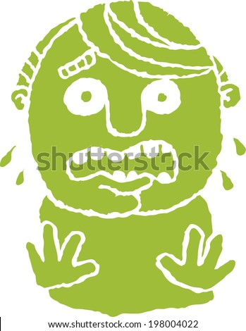 A cartoon silhouette of a man in a panic.  - stock vector