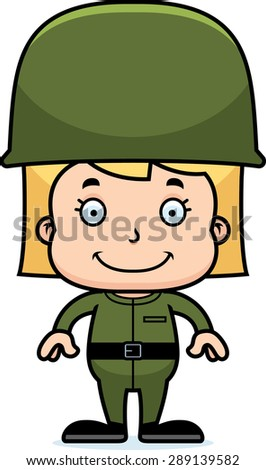 A cartoon soldier girl smiling. - stock vector
