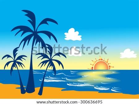 cartoon stylized beach scene palm trees stock vector 2018 rh shutterstock com cartoon beach scene with people cartoon beach scenes pictures