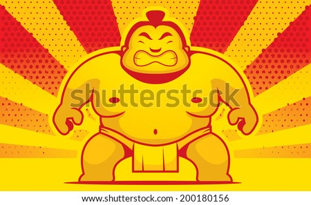 A cartoon sumo wrestler with an angry expression. - stock vector