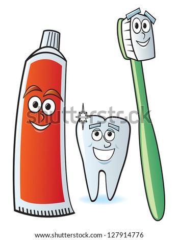 A cartoon toothbrush, toothpaste and clean sparkling tooth. - stock vector