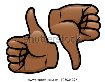 A cartoon vector drawing of a thumbs up and a thumbs down. Eps 10 Vector. - stock vector