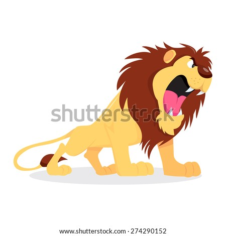 A cartoon vector illustration of a fierce lion roaring. - stock vector