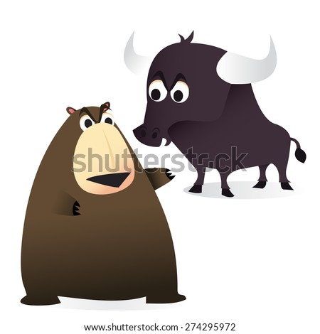 A cartoon vector illustration of a finance concept: Bear and bull market. - stock vector