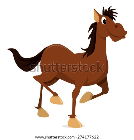 A cartoon vector illustration of a happy brown horse.