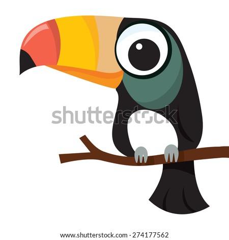 A cartoon vector illustration of a little cute toucan bird perching on a tree branch. - stock vector