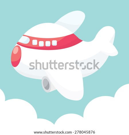 A cartoon vector illustration of cute airplane up in the sky. - stock vector