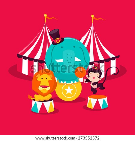 A cartoon vector illustration of cute and whimsical carnival circus animals.