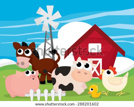 A Cartoon Vector Illustration Of Farm Scene With Animals Like Cow Pig Chickens