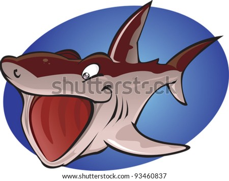 A cartoon vector illustration of the second largest fish in the ocean. The Harmless plankton eating Basking Shark. Part of a series of Various shark species. - stock vector