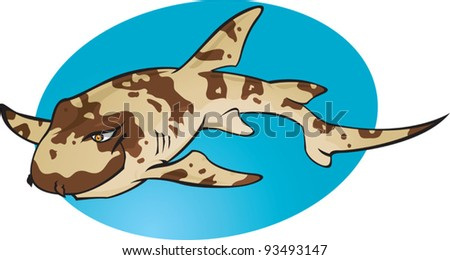 A cartoon vector illustration of the small cute and harmless Bamboo Shark. Part of a series of Various shark species. - stock vector