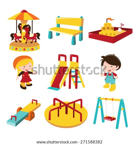 A cartoon vector illustration of various outdoor playground theme icon set. Included in this set:- merry-go-round, bench, sand pit, girl, boy, slide, see saw, roundabout and swing. - stock vector