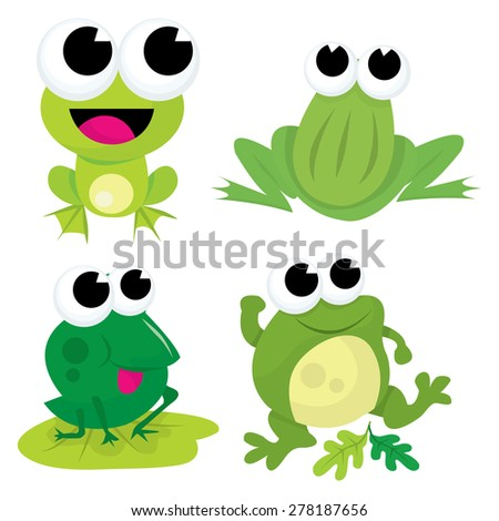 A cartoon vector illustration set of four different cute green frogs.