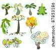 A cartoon vector illustration set of nine different trees. - stock vector