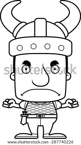 A cartoon Viking man looking angry. - stock vector