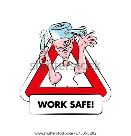 A Cartoon Warning Sign For Kitchen Safety. A Funny, Fat, Bald Man With