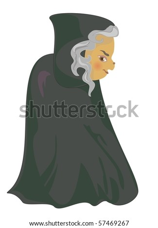 a cartoon witch - stock vector