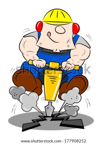 A cartoon workman drilling the road with a pneumatic drill - stock vector