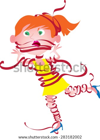A cartoon young woman wrapped up in red tape - stock vector